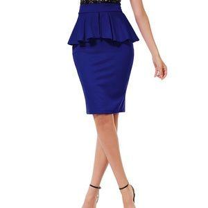 Royal Blue High Waisted Peplum Pencil Midi Skirt